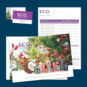 ECO. Modern Essentials Stationery & Supporting sales materials