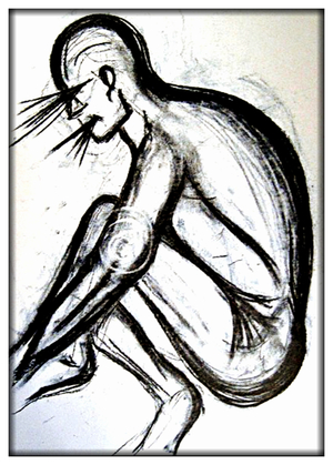 Original Drawing Sketch Charcoal Nude Abstract
