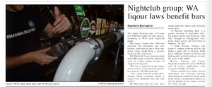 Nightclub Group: WA liquor laws benefit bars