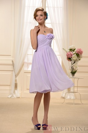 Flowers Empire Waist Short Bridesmaid Dress