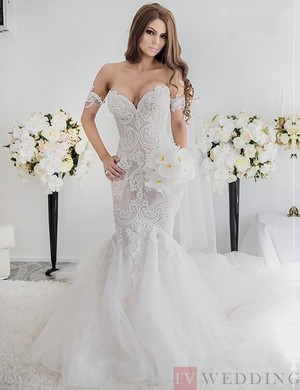 Mermaid/Trumpet Lace Wedding Dress With Pearls