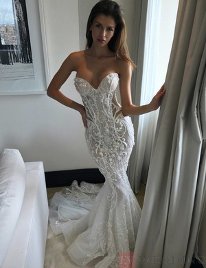 Mermaid/Trumpet Tulle Wedding Dress With Beading And Lace