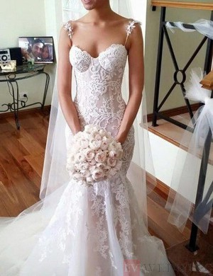 Mermaid Spaghetti Straps Tulle Wedding Dress With Lace