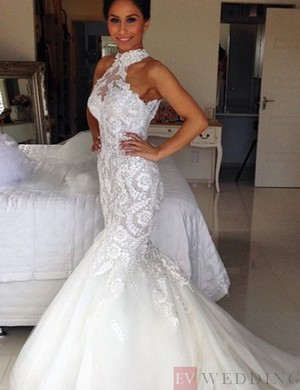 Mermaid High Neck Tulle Wedding Dress With Lace