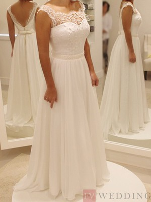 Beading Scoop Neck Sleeveless A-Line Wedding Dress With Backless