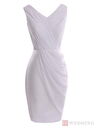 Sheath Knee-Length V-Neck Ruched Lavender Mother Of The Bride Dress