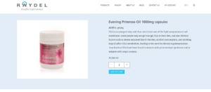 Raydel Evening Primrose Oil 1000mg capsules packaging