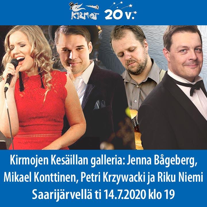 KIRMOT 2020: Kesäillan galleria - Jenna Bågeberg, Mikael Konttinen, Petri Krzywacki ja Riku Niemi