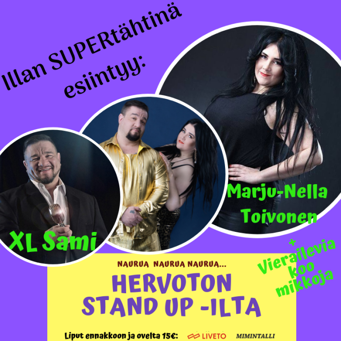 Hervoton Stand up -ilta Kuurikan lavalla (K15)