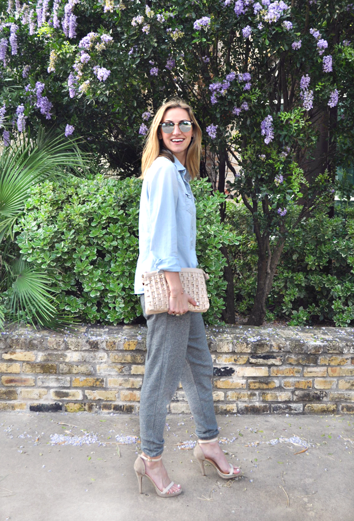 livvyland-blog-mint-clothing-company-joggers-how-to-wear-chambray-blush-pink-reflective-sunglasses-olivia-watson-austin-texas-fashion-blogger-2