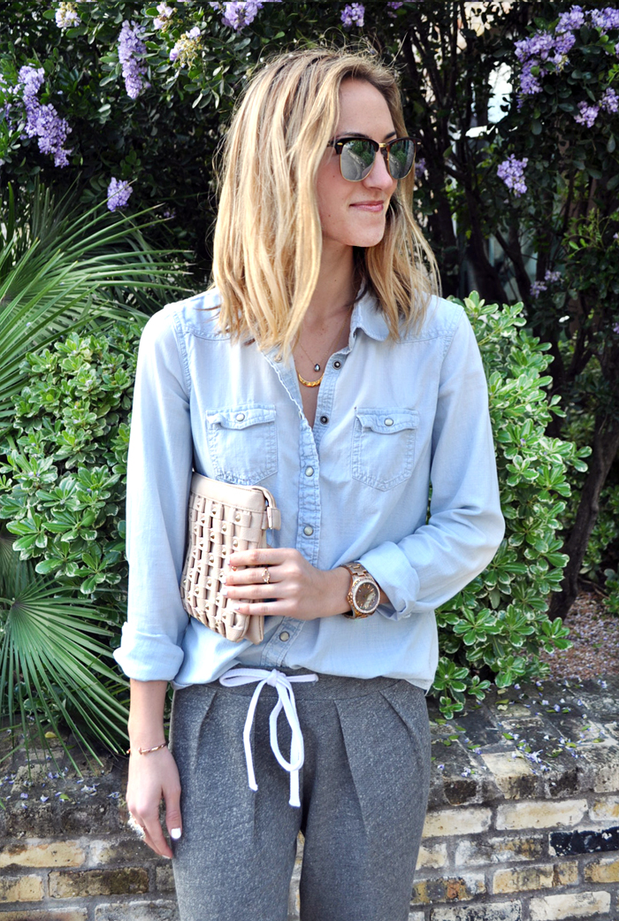livvyland-blog-mint-clothing-company-joggers-how-to-wear-chambray-blush-pink-reflective-sunglasses-olivia-watson-austin-texas-fashion-blogger-6