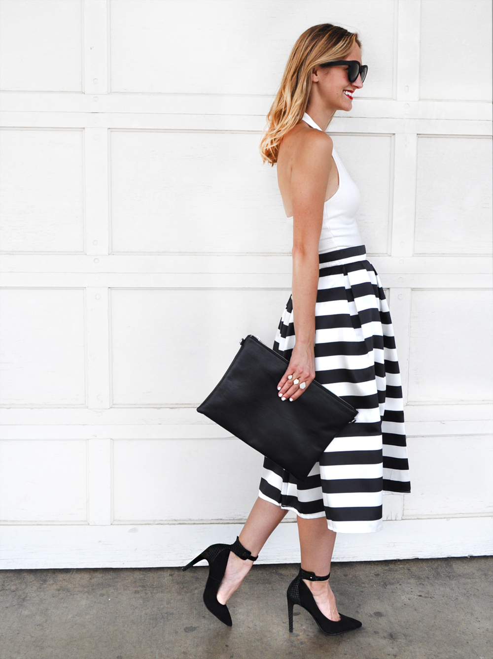livvyland-blog-olivia-watson-austin-texas-fashion-blogger-chicwish-striped-tea-length-skirt-high-waist-black-white-topshop-white-halter-top-2