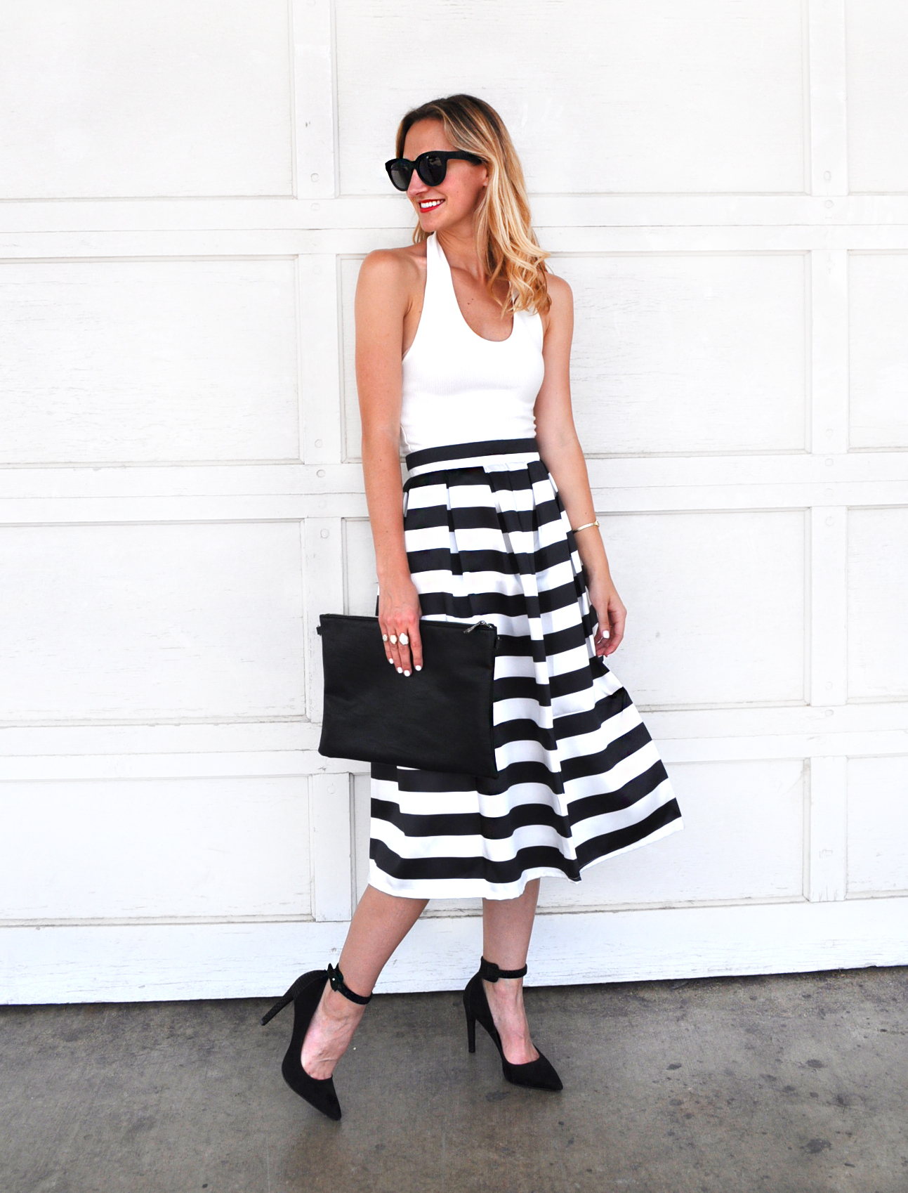 livvyland-blog-olivia-watson-austin-texas-fashion-blogger-chicwish-striped-tea-length-skirt-high-waist-black-white-topshop-white-halter-top-4