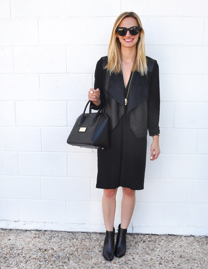 livvyland-blog-olivia-watson-austin-texas-fashion-lifestyle-blogger-yumi-kim-victory-dress-all-black-on-black-outfit-fall-rocker-chic-kendra-scott-sienna-necklace-drape-front-jacket-KUT-nordstrom-toms-traveler-florentin-sunglasses-valentino-handbag-5