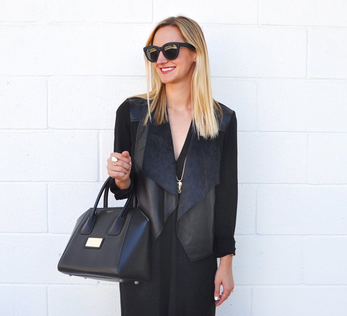 livvyland-blog-olivia-watson-austin-texas-fashion-lifestyle-blogger-yumi-kim-victory-dress-all-black-on-black-outfit-fall-rocker-chic-kendra-scott-sienna-necklace-drape-front-jacket-KUT-nordstrom-toms-traveler-florentin-sunglasses-valentino-handbag-6