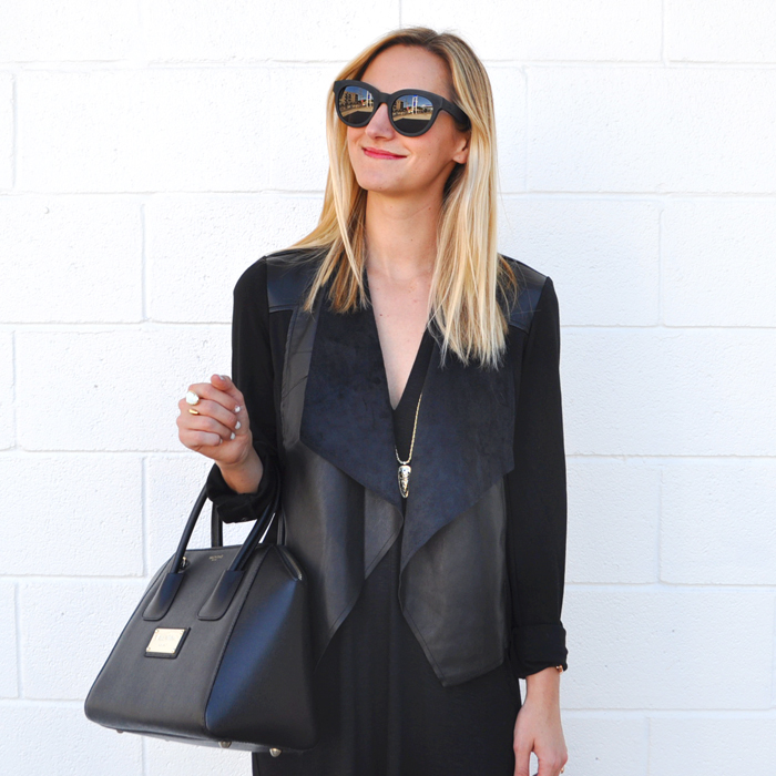 livvyland-blog-olivia-watson-austin-texas-fashion-lifestyle-blogger-yumi-kim-victory-dress-all-black-on-black-outfit-fall-rocker-chic-kendra-scott-sienna-necklace-drape-front-jacket-KUT-nordstrom-toms-traveler-florentin-sunglasses-valentino-handbag-3
