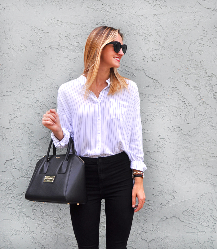 5e2e6a2870 Work to Play: Striped Button Up Shirt - LivvyLand | Austin Fashion ...