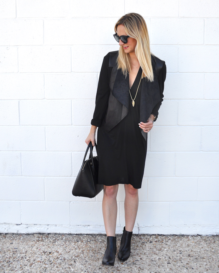 livvyland-blog-olivia-watson-austin-texas-fashion-lifestyle-blogger-yumi-kim-victory-dress-all-black-on-black-outfit-fall-rocker-chic-kendra-scott-sienna-necklace-drape-front-jacket-KUT-nordstrom-toms-traveler-florentin-sunglasses-valentino-handbag-1