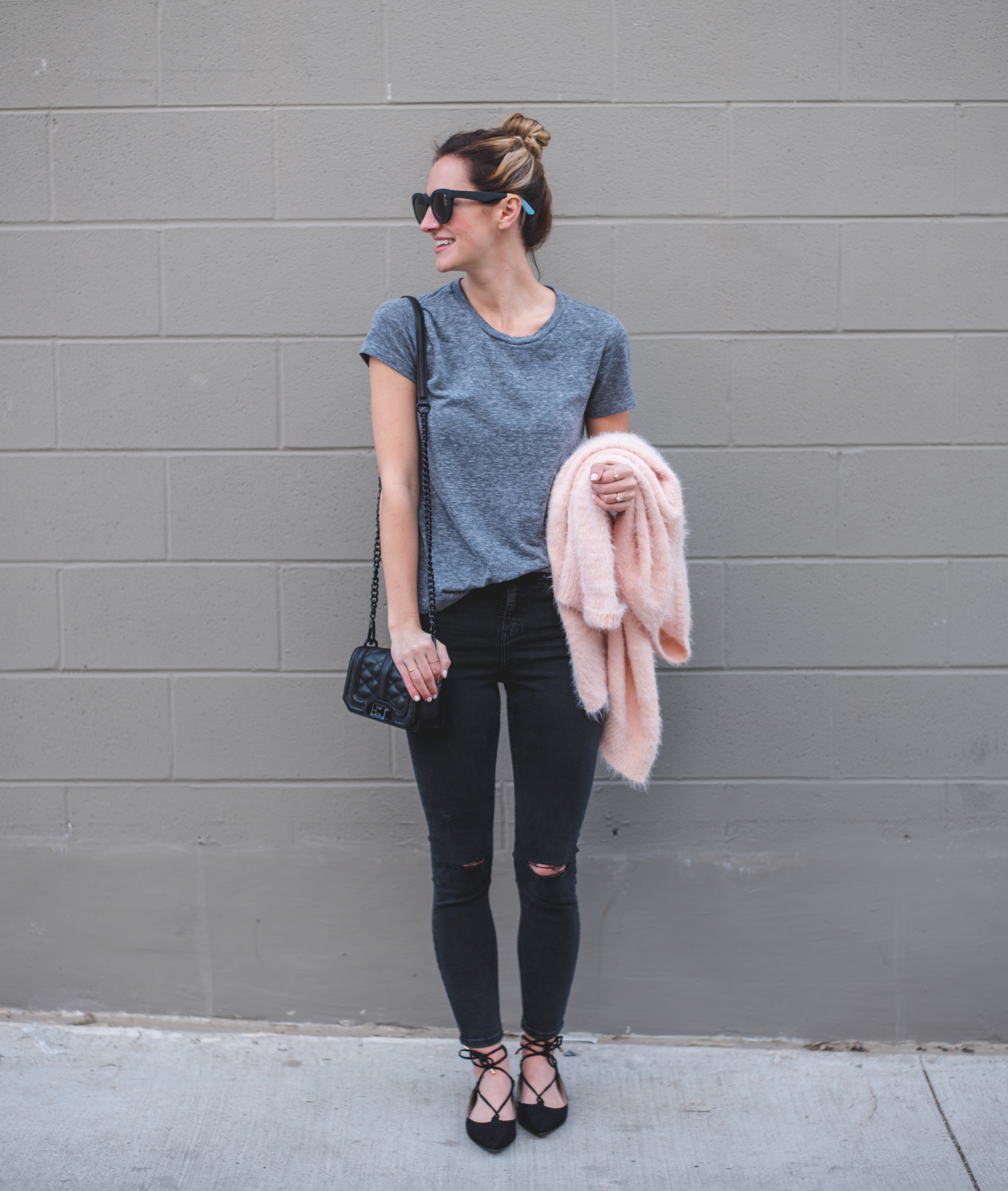 livvyland-blog-olivia-watson-austin-texas-fashion-blogger-topshop-distressed-black-skinny-jeans-lace-up-flats-blush-pink-cardigan-rebecca-minkoff-mini-love-crossbody-bag-gunmetal-2