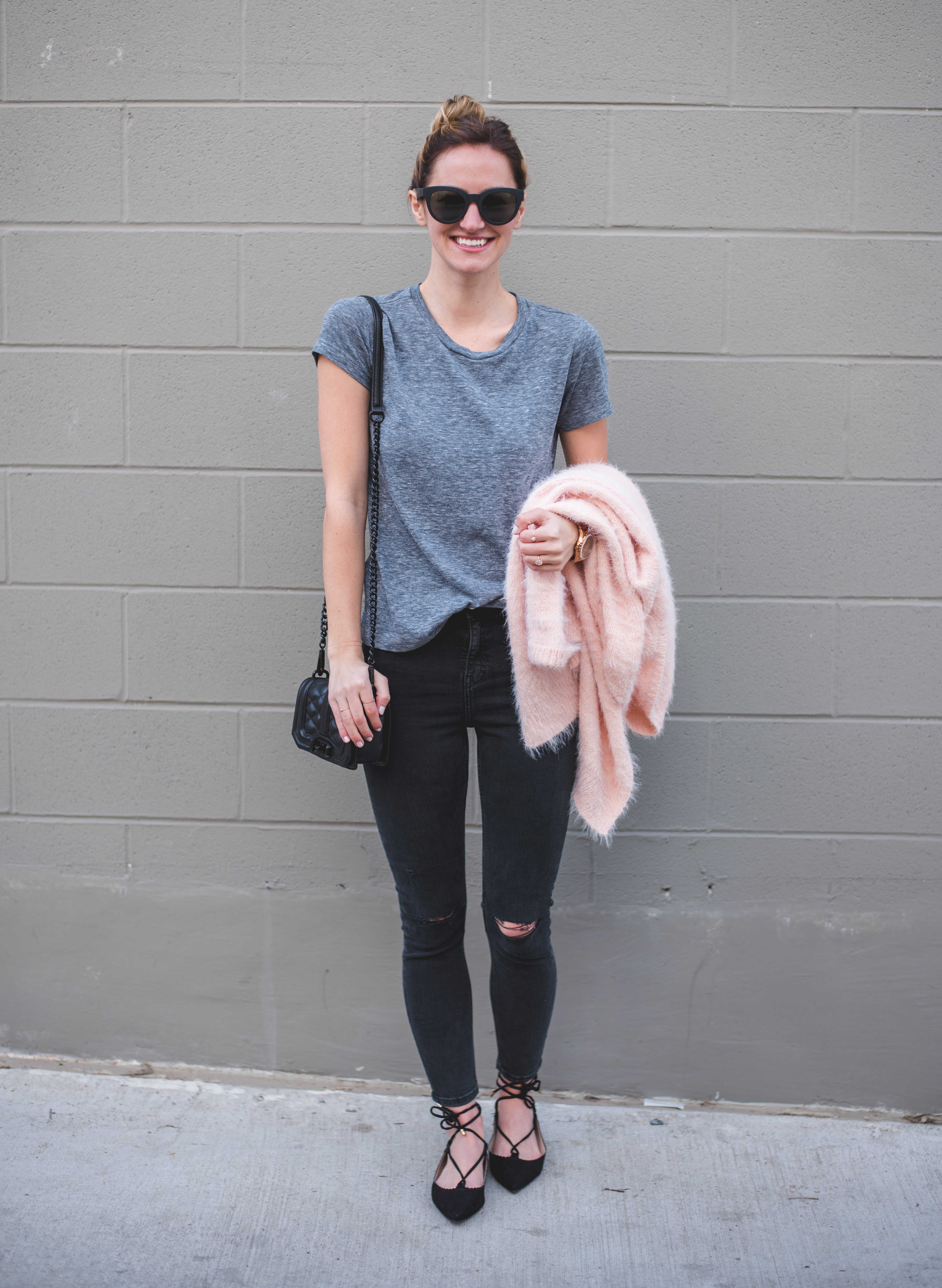 livvyland-blog-olivia-watson-austin-texas-fashion-blogger-topshop-distressed-black-skinny-jeans-lace-up-flats-blush-pink-cardigan-rebecca-minkoff-mini-love-crossbody-bag-gunmetal-3