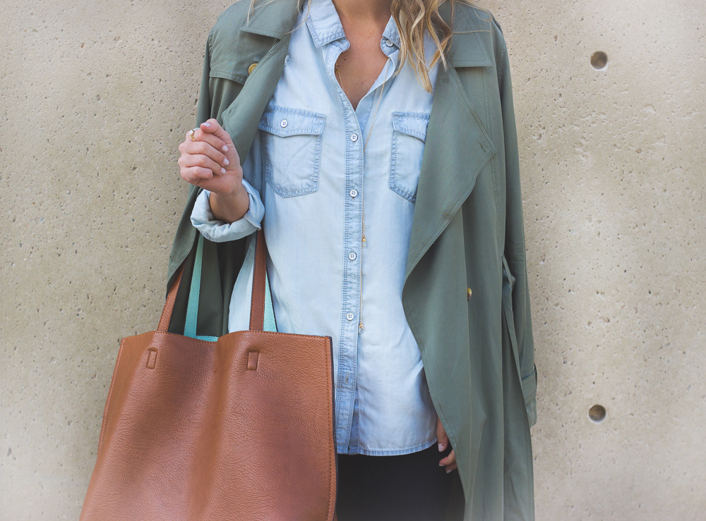 livvyland-blog-olivia-watson-green-trench-coat-halogen-chambray-button-up-madewell-tan-english-saddle-loafer-leather-flats-austin-texas-fashion-blogger-3
