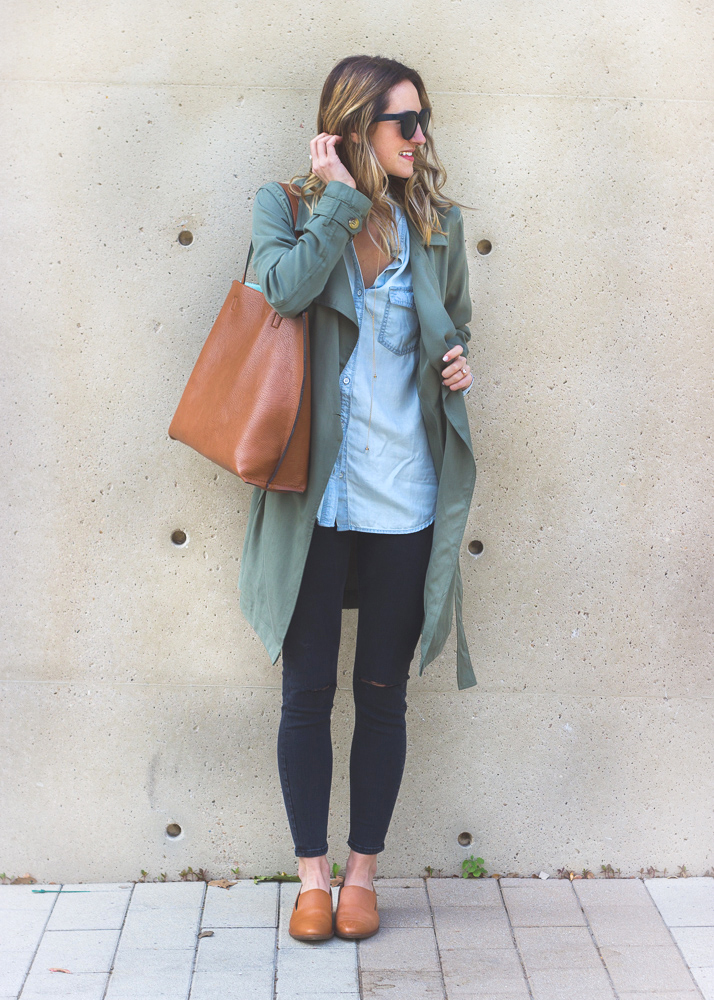 livvyland-blog-olivia-watson-green-trench-coat-halogen-chambray-button-up-madewell-tan-english-saddle-loafer-leather-flats-austin-texas-fashion-blogger-6