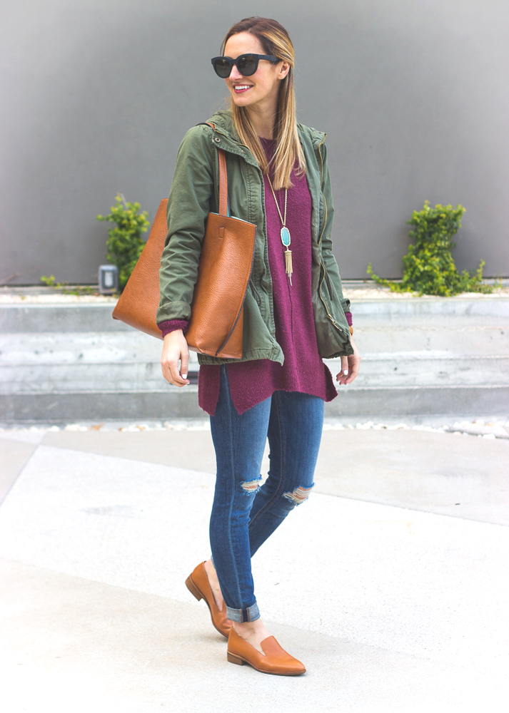 livvyland-blog-olivia-watson-joes-distressed-skinny-jeans-tan-madewell-loafer-flats-green-utility-jacket-plum-sweater-austin-texas-fashion-blogger-2