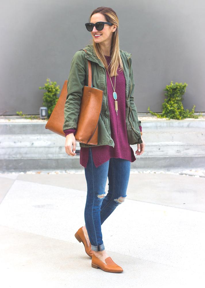 livvyland-blog-olivia-watson-joes-distressed-skinny-jeans-tan-madewell-loafer-flats-green-utility-jacket-plum-sweater-austin-texas-fashion-blogger-2