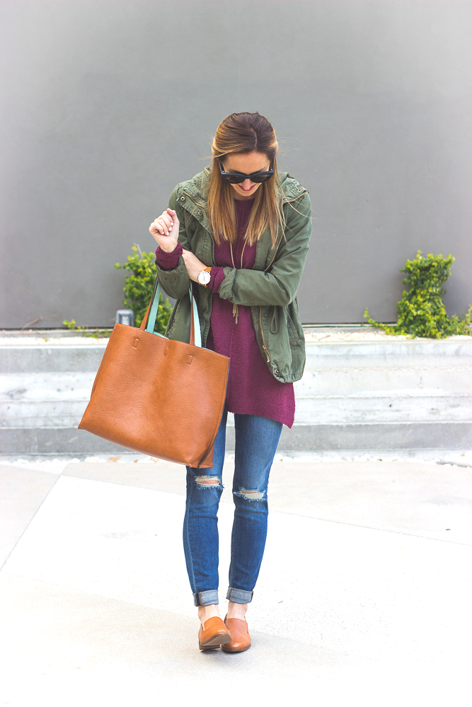 livvyland-blog-olivia-watson-joes-distressed-skinny-jeans-tan-madewell-loafer-flats-green-utility-jacket-plum-sweater-austin-texas-fashion-blogger-4