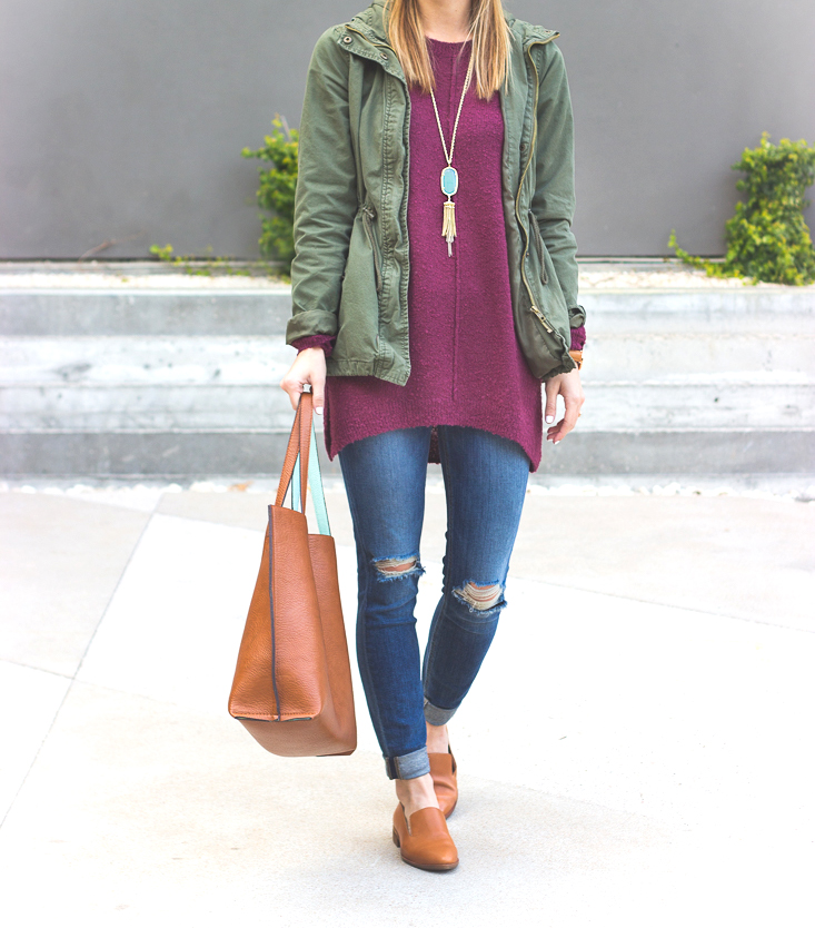 livvyland-blog-olivia-watson-joes-distressed-skinny-jeans-tan-madewell-loafer-flats-green-utility-jacket-plum-sweater-austin-texas-fashion-blogger-5