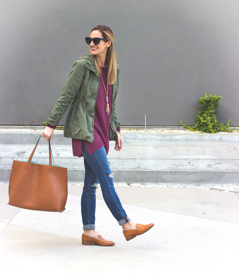 livvyland-blog-olivia-watson-joes-distressed-skinny-jeans-tan-madewell-loafer-flats-green-utility-jacket-plum-sweater-austin-texas-fashion-blogger-6