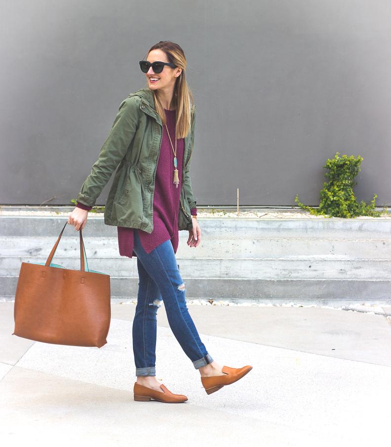 livvyland-blog-olivia-watson-joes-distressed-skinny-jeans-tan-madewell-loafer-flats-green-utility-jacket-plum-sweater-austin-texas-fashion-blogger-6