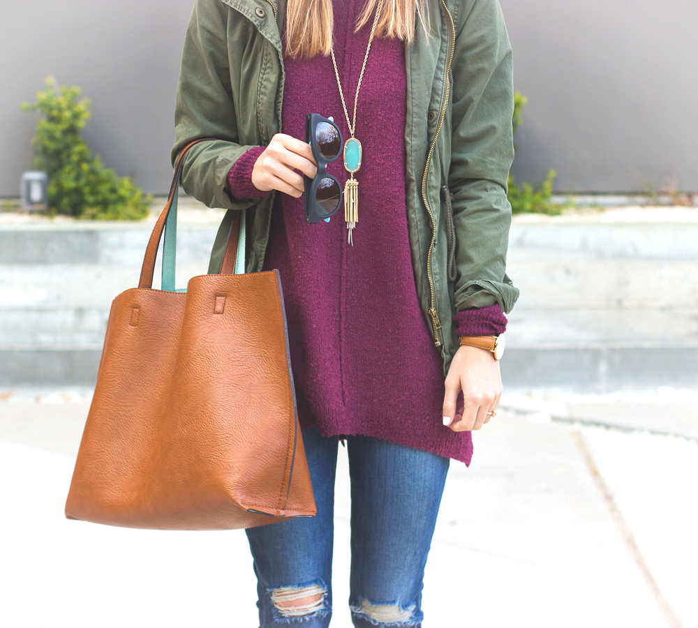 livvyland-blog-olivia-watson-joes-distressed-skinny-jeans-tan-madewell-loafer-flats-green-utility-jacket-plum-sweater-austin-texas-fashion-blogger-7