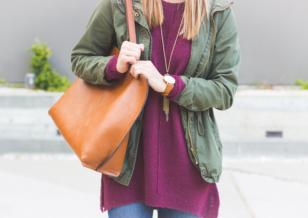 livvyland-blog-olivia-watson-joes-distressed-skinny-jeans-tan-madewell-loafer-flats-green-utility-jacket-plum-sweater-austin-texas-fashion-blogger-8