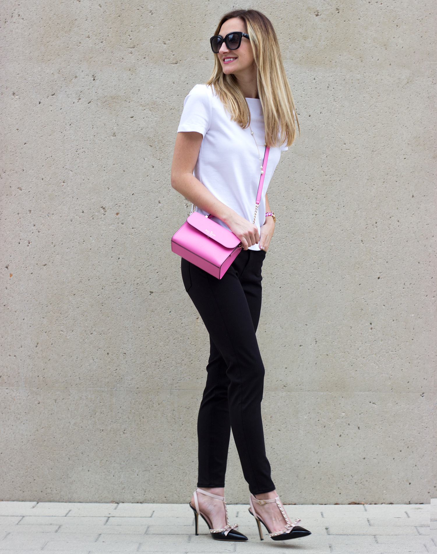 livvland-blog-austin-texas-fashion-blogger-kate-spade-black-cigarette-pants-pink-rouge-mini-handbag-white-everyday-tee-broome-street-1