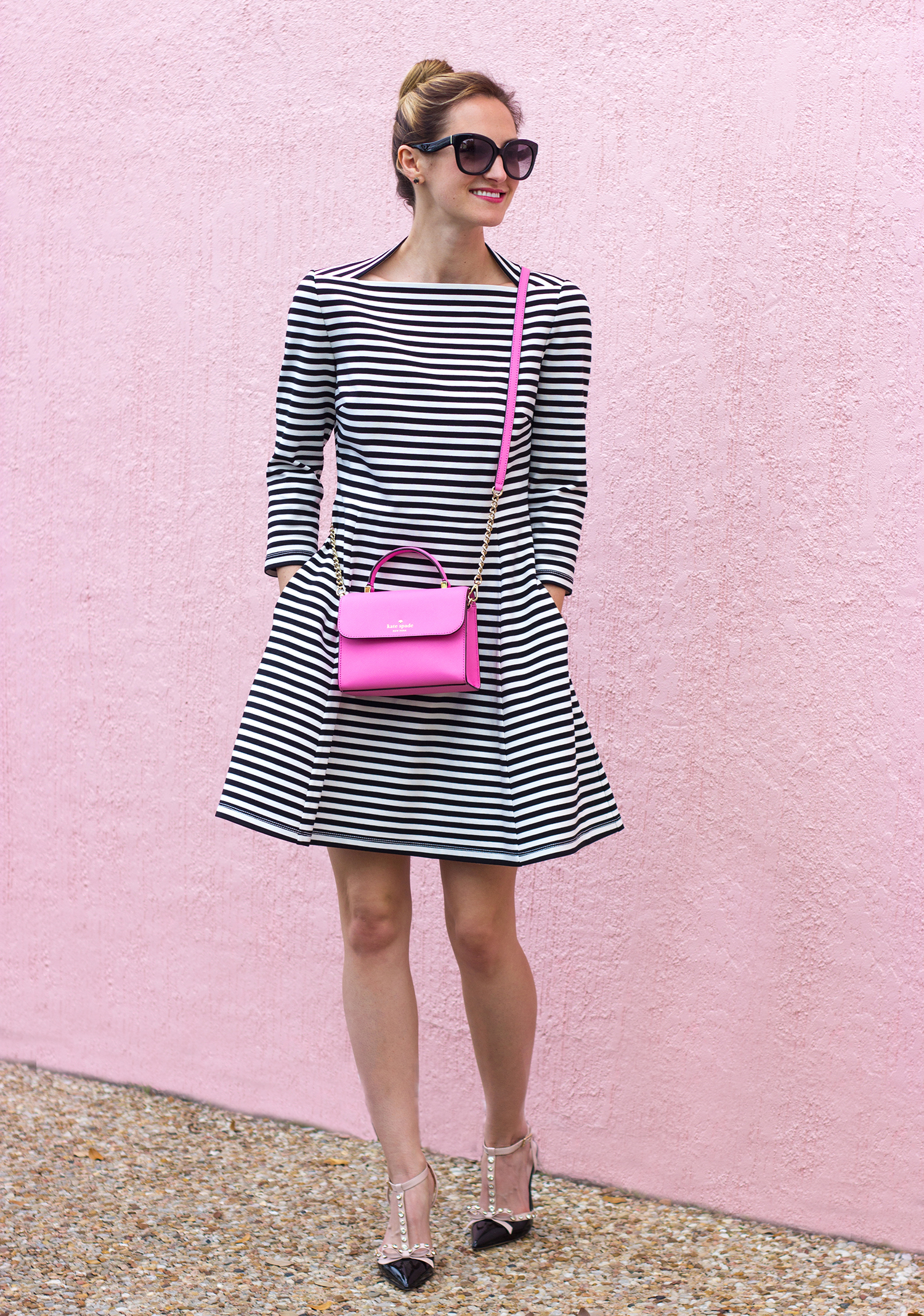 livvyland-blog-olivia-watson-austin-texas-fashion-blogger-kate-spade-broome-street-everyday-tee-white-rose-pleated-skirt-pink-black-spring-outfit-striped-everyday-dress-rouge-pink-handbag-3