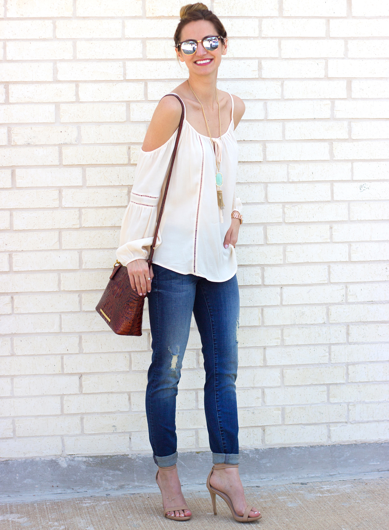1-livvyland-blog-olivia-watson-austin-texas-fashion-blogger-kut-against-the-kloth-skinny-jeans-cream-nude-cold-shoulder-off-top-spring-nordstrom-stecy-heels-steve-madden-2
