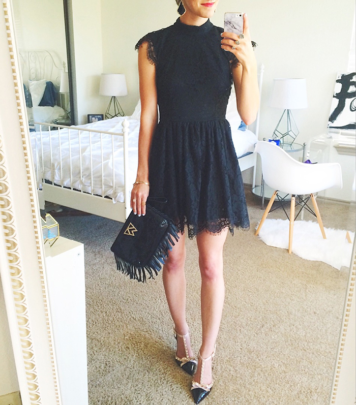 livvyland-blog-olivia-watson-austin-texas-fashion-blogger-black-lace-high-neck-dress-lbd-kate-spade-rockstud-heels-kelly-wynne-fringe-clutch