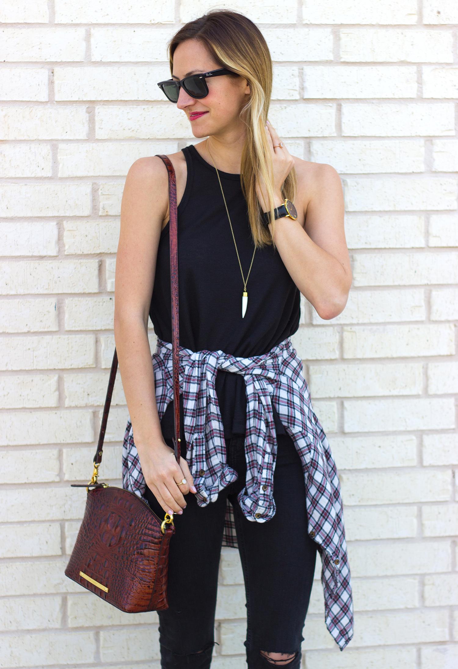 livvyland-blog-olivia-watson-austin-texas-fashion-blogger-free-people-razor-back-tank-top-black-on-black-boho-festival-outfit-sxsw-brahmin-duxbury-plaid-flannel-around-waist-seychelles-snare-7