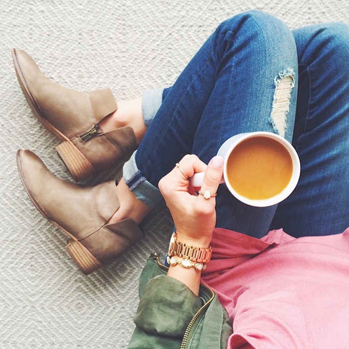 livvyland-blog-olivia-watson-austin-texas-fashion-blogger-taupe-ankle-booties-green-utility-jacket-coffee-in-bed-cozy
