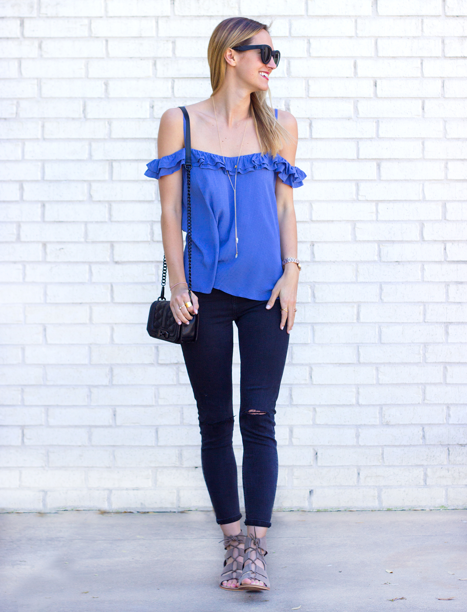 livvyland-blog-olivia-watson-austin-texas-fashion-blogger-topshop-ruffled-off-shoulder-cold-top-black-distressed-skinny-jeans-rebecca-minkoff-mini-love-affair-handbag-4