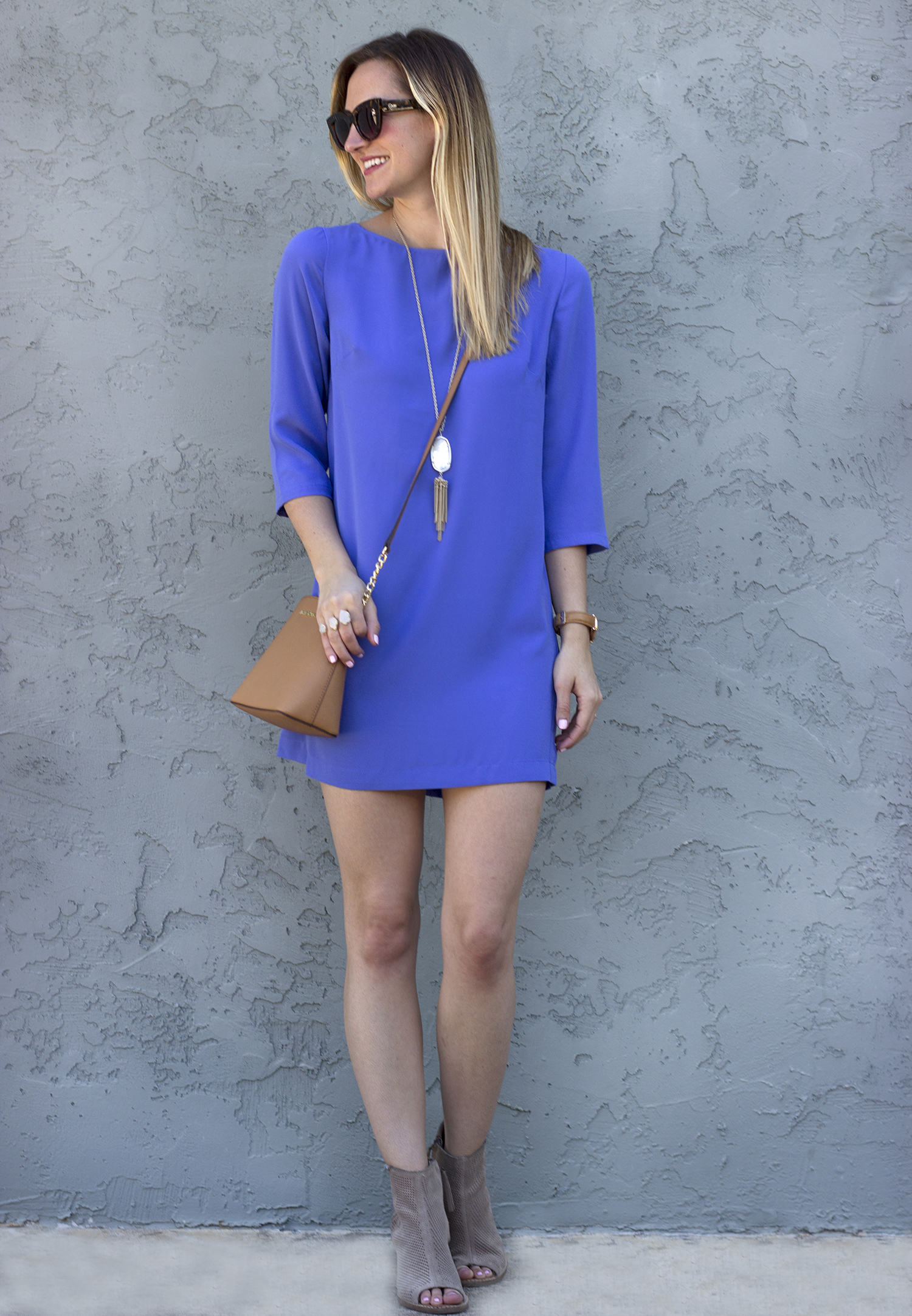 1-livvyland-blog-olivia-watson-austin-texas-fashion-blogger-periwinkle-blue-shift-dress-keyhole-michael-kors-handbag-quay-cateye-sunglasses-toms-taupe-majorca-booties-kendra-scott-naomi-drusy-ring-2
