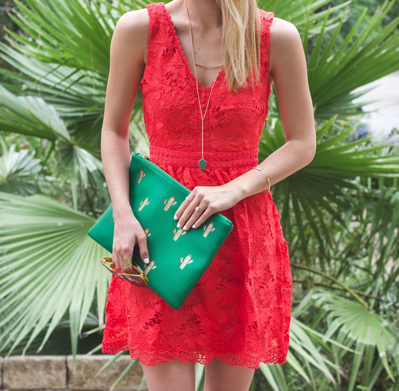 livvyland-blog-olivia-watson-austin-texas-fashion-blogger-modcloth-coral-lace-crochet-dress-cactus-clutch-emerald-green-long-necklace-braided-heels-4