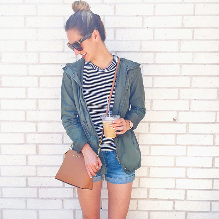 livvyland-blog-olivia-watson-spring-style-austin-texas-fashion-blogger-iced-coffee-striped-tee-shirt-green-utility-jacket-cut-off-denim-shorts-madewell-outfit