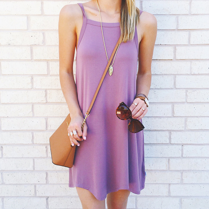 livvyland-blog-olivia-watson-spring-style-austin-texas-fashion-blogger-rvca-lilac-shift-dress-summer-lavender-purple-cognac-details