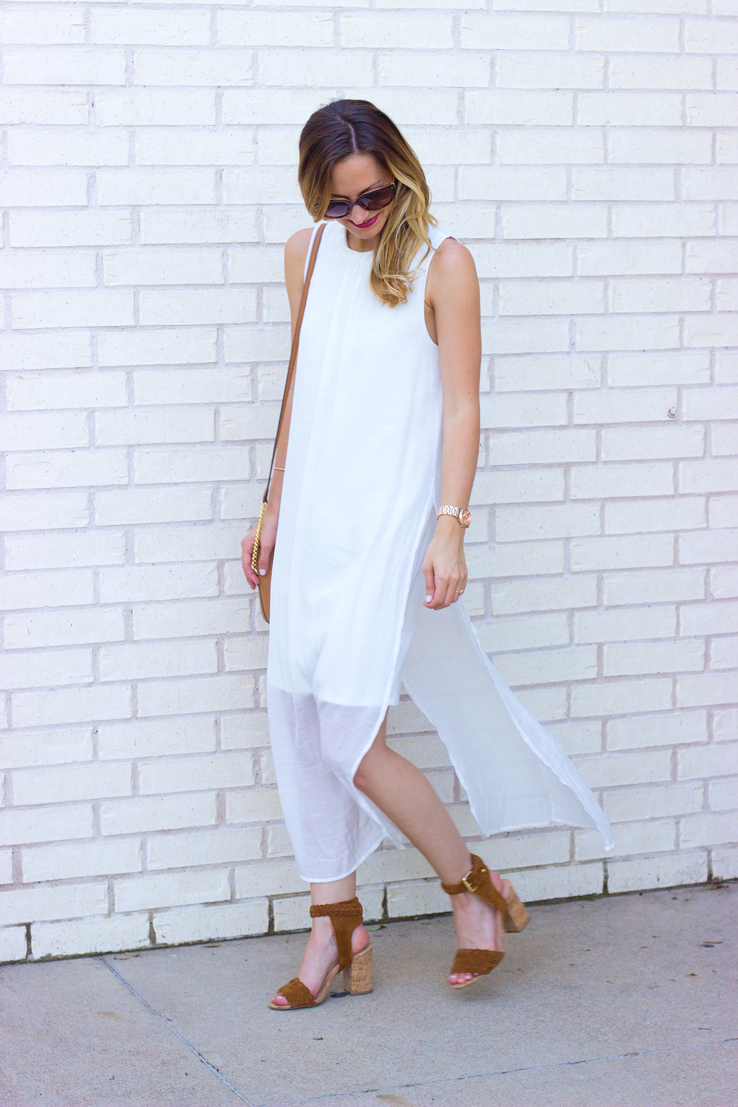 livvyland-blog-olivia-watson-white-sheer-midi-dress-painted-threads-braided-sandal-heels-austin-texas-fashion-blogger-rose-gold-kendra-scott-prada-cateye-sunglasses-spring-outfit-2