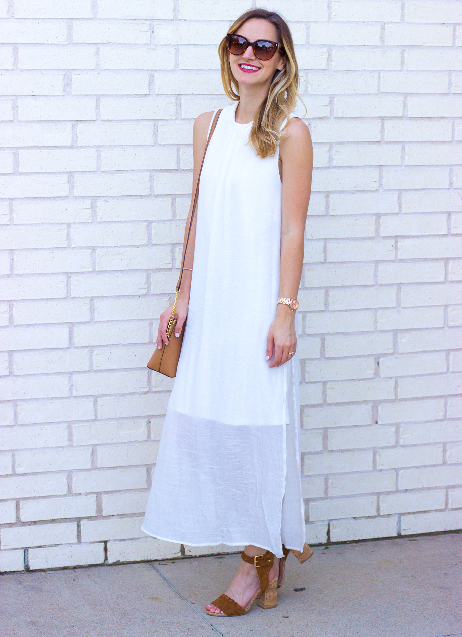 livvyland-blog-olivia-watson-white-sheer-midi-dress-painted-threads-braided-sandal-heels-austin-texas-fashion-blogger-rose-gold-kendra-scott-prada-cateye-sunglasses-spring-outfit-5
