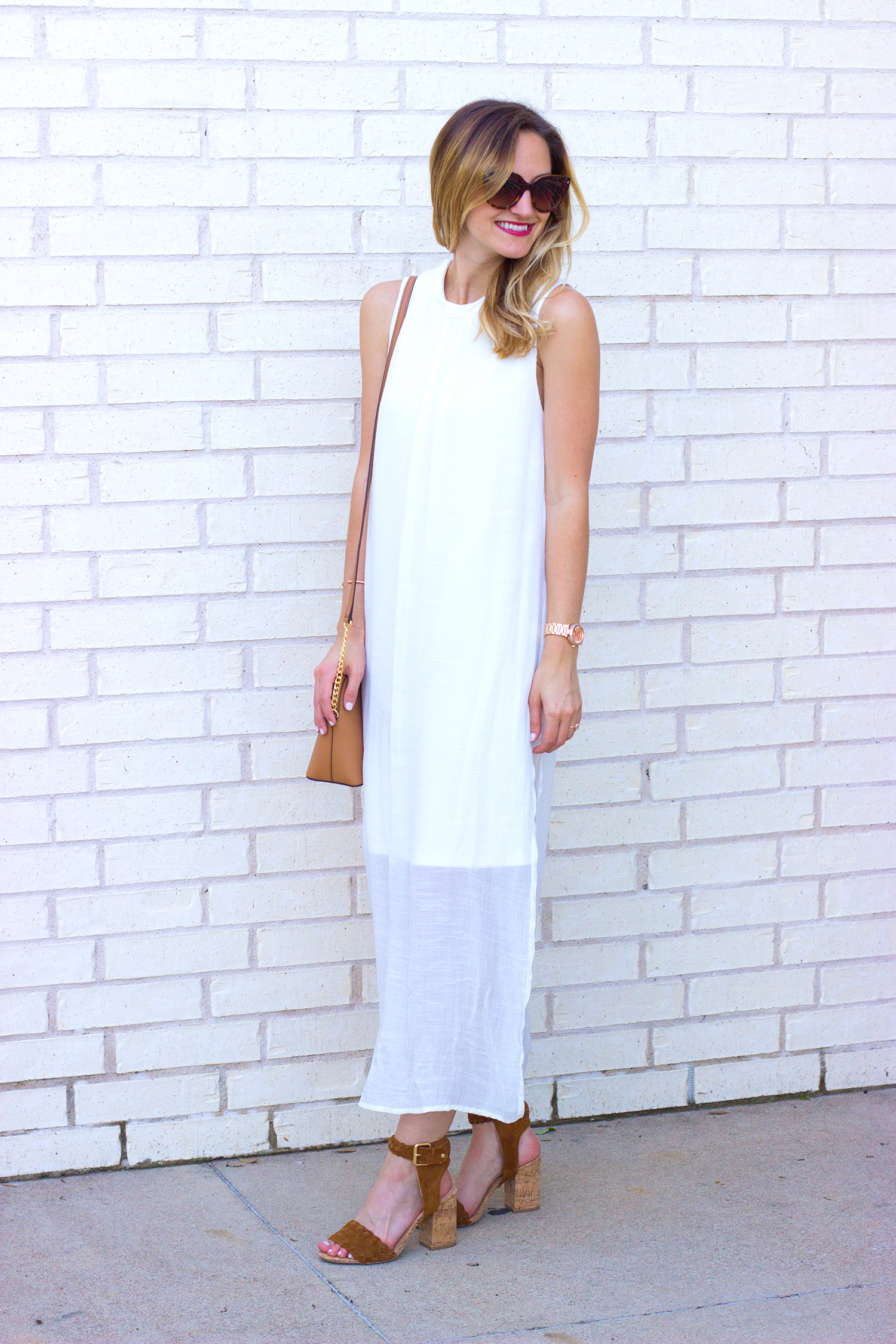 livvyland-blog-olivia-watson-white-sheer-midi-dress-painted-threads-braided-sandal-heels-austin-texas-fashion-blogger-rose-gold-kendra-scott-prada-cateye-sunglasses-spring-outfit-6
