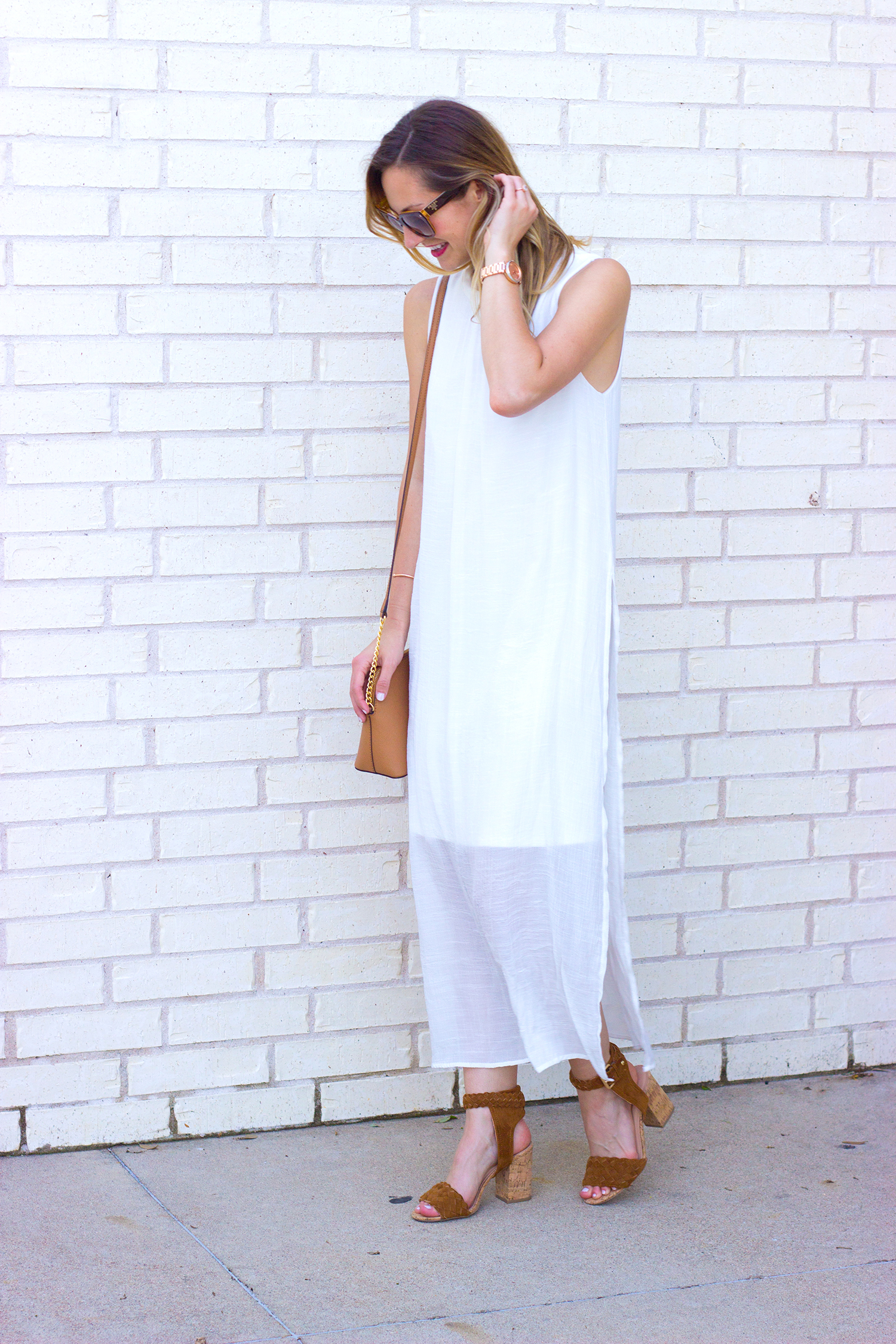 livvyland-blog-olivia-watson-white-sheer-midi-dress-painted-threads-braided-sandal-heels-austin-texas-fashion-blogger-rose-gold-kendra-scott-prada-cateye-sunglasses-spring-outfit-7