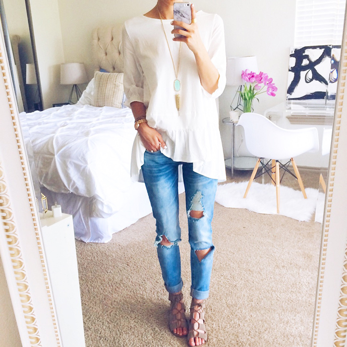 livvyland-blog-olivia-watson-austin-texas-fashion-blogger-chicwish-oversize-tunic-white-distressed-skinny-jeans-selfie-spring-outfit